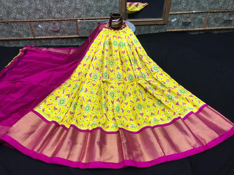 Pochampally Ikkat Pattu Lehenga-Multi-Color-Sitarini-SITEIL1312