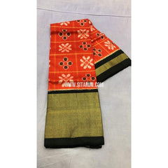 Pochampally Ikkat Pattu Lehenga-Orange and Black-PRRHIPL113