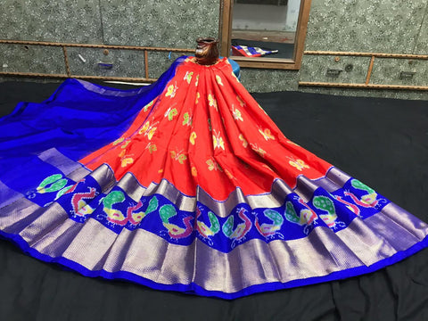 Pochampally Ikkat Pattu Lehenga-Orange and Blue-Sitarini-SITEIL1303