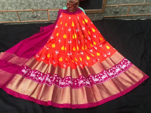 Pochampally Ikkat Pattu Lehenga-Orange and Maroon-Sitarini-SITEIL1302