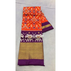 Pochampally Ikkat Pattu Lehenga-Orange and Purple-Sitarini-PRRHIPL106