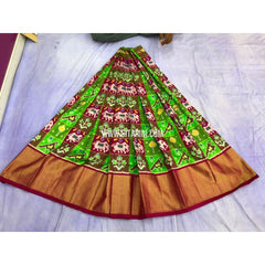 Pochampally Ikkat Pattu Lehenga-Parrot Green and Maroon-PRRHIPL144