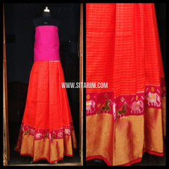 Pochampally Ikkat Pattu Lehenga-Pink and Orange-Sitarini-PRHIPL118