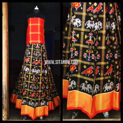 Pochampally Ikkat Pattu Lehenga-Red and Black-Sitarini-PRHIPL114