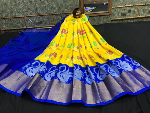 Pochampally Ikkat Pattu Lehenga-Yellow and Blue-Sitarini-SITEIL1305