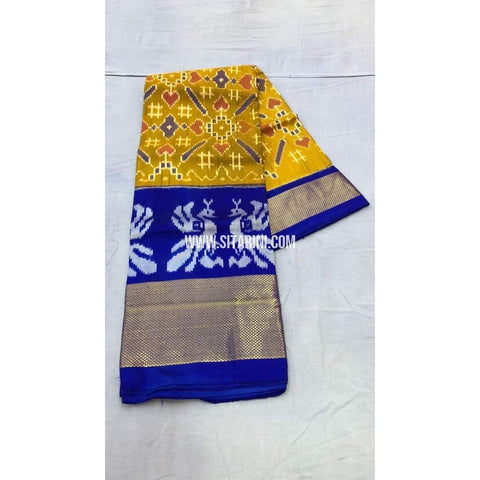Pochampally Ikkat Pattu Lehenga-Yellow and Royal Blue-PRRHIPL120