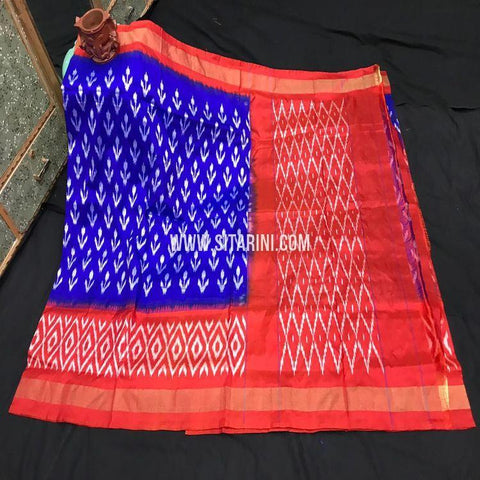 Pochampally Ikkat Pattu Light Weight Saree-Blue-Sitarini-SITIPS972