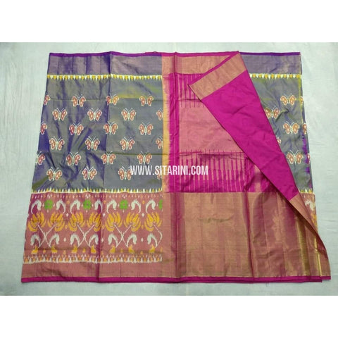 Pochampally Ikkat Pattu Saree- and Pink-Sitarini-PSHIPS188