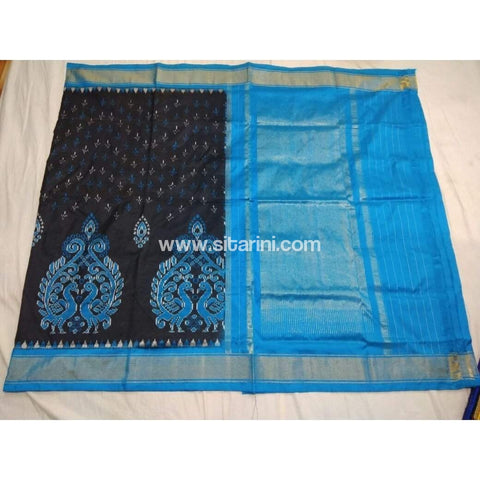 Pochampally Ikkat Pattu Saree-Black and Blue-Sitarini-PSHIPS153