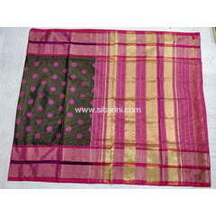 Pochampally Ikkat Pattu Saree-Black and Pink-Sitarini-PSHIPS130