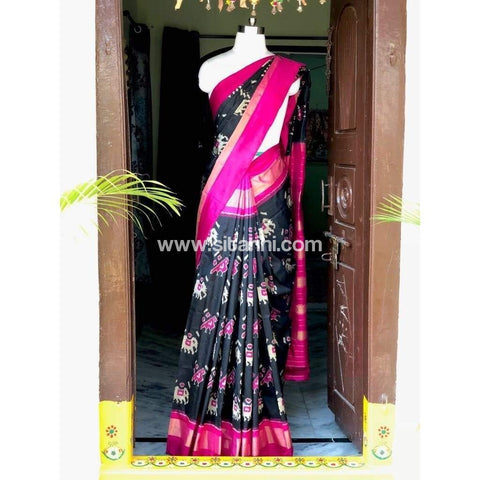 Pochampally Ikkat Pattu Saree-Black and Pink-Sitarini-PSHIPS134