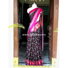 Pochampally Ikkat Pattu Saree-Black and Pink-Sitarini-PSHIPS139