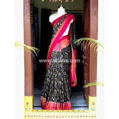 Pochampally Ikkat Pattu Saree-Black and Pink-Sitarini-PSHIPS172
