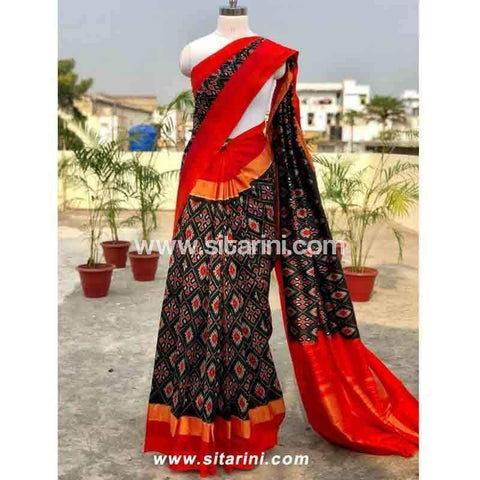 Pochampally Ikkat Pattu Saree-Black and Red-Sitarini