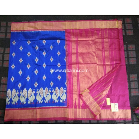Pochampally Ikkat Pattu Saree-Blue and Magenta-Sitarini-PRHIPS114