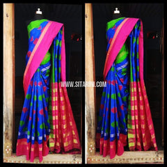 Pochampally Ikkat Pattu Saree-Blue and Pink-Sitarini-PRHIPS125