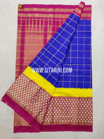 Pochampally Ikkat Pattu Saree-Blue-Sitarini-SITIPS1011