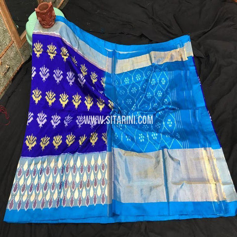 Pochampally Ikkat Pattu Saree-Blue-Sitarini-SITIPS885