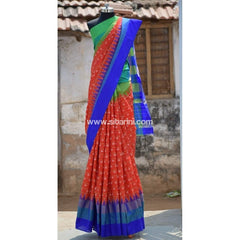 Pochampally Ikkat Pattu Saree-Dark Orange and Blue-Sitarini-PRHIPS105