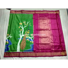 Pochampally Ikkat Pattu Saree-Green and Pink-Sitarini-PSHIPS142