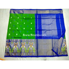 Pochampally Ikkat Pattu Saree-Green and Royal Blue-Sitarini-PSHIPS166