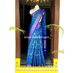 Pochampally Ikkat Pattu Saree-Light Blue and Royal Blue-Sitarini-PSHIPS175