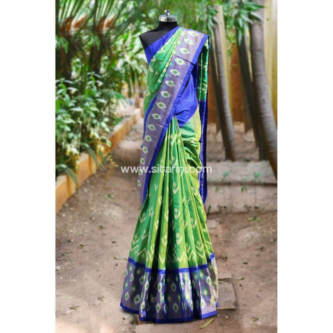 Pochampally Ikkat Pattu Saree-Light Green and Light Blue-Sitarini-PRHIPS106