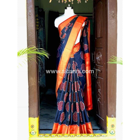 Pochampally Ikkat Pattu Saree-Navy Blue and Orange-Sitarini-PSHIPS131
