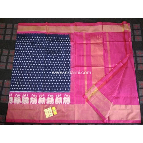 Pochampally Ikkat Pattu Saree-Navy Blue and Pink-Sitarini-PRHIPS113