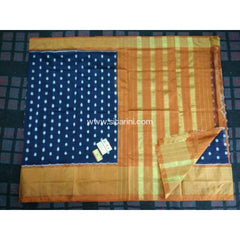 Pochampally Ikkat Pattu Saree-Navy Blue and Yellow-Sitarini-PRHIPS112