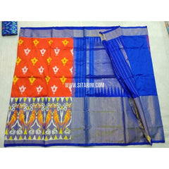 Pochampally Ikkat Pattu Saree-Orange and Blue-Sitarini-PSHIPS194