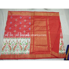 Pochampally Ikkat Pattu Saree-Orange and Cream-Sitarini-PSHIPS162
