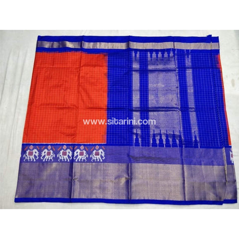 Pochampally Ikkat Pattu Saree-Orange and Royal Blue-Sitarini-PSHIPS126