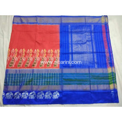 Pochampally Ikkat Pattu Saree-Orange and Royal Blue-Sitarini-PSHIPS156