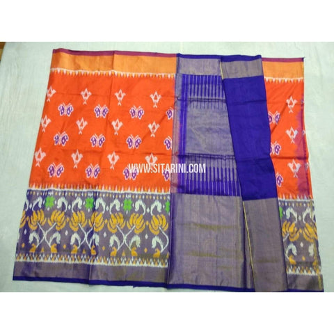 Pochampally Ikkat Pattu Saree-Orange and Royal Blue-Sitarini-PSHIPS189
