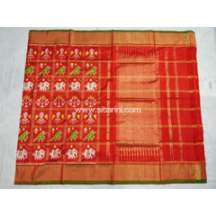 Pochampally Ikkat Pattu Saree-Orange-Sitarini-PSHIPS118