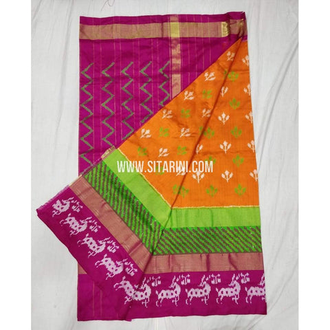 Pochampally Ikkat Pattu Saree-Orange-Sitarini-SITIPS301