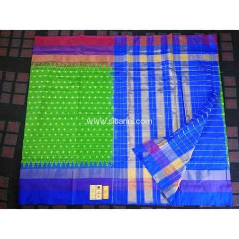 Pochampally Ikkat Pattu Saree-Parrot Green and Blue-Sitarini-PRHIPS117