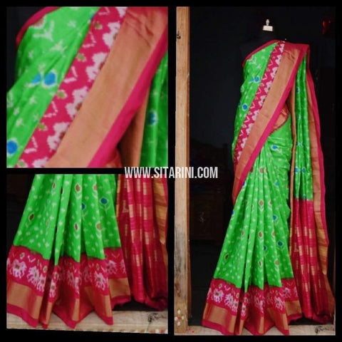 Pochampally Ikkat Pattu Saree-Parrot Green and Dark Pink-Sitarini-PRHIPS123
