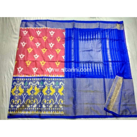 Pochampally Ikkat Pattu Saree-Peach and Royal Blue-Sitarini-PSHIPS161