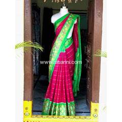 Pochampally Ikkat Pattu Saree-Pink and Green-Sitarini-PSHIPS135