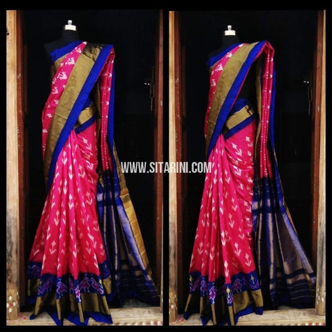 Pochampally Ikkat Pattu Saree-Pink and Royal Blue-Sitarini-PRHIPS128