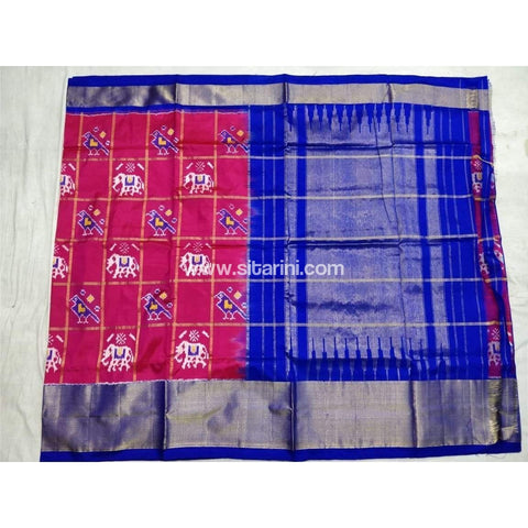Pochampally Ikkat Pattu Saree-Pink and Royal Blue-Sitarini-PSHIPS120
