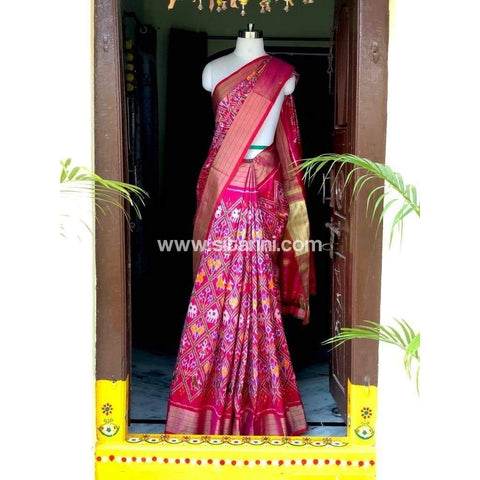 Pochampally Ikkat Pattu Saree-Pink-Sitarini-PSHIPS176