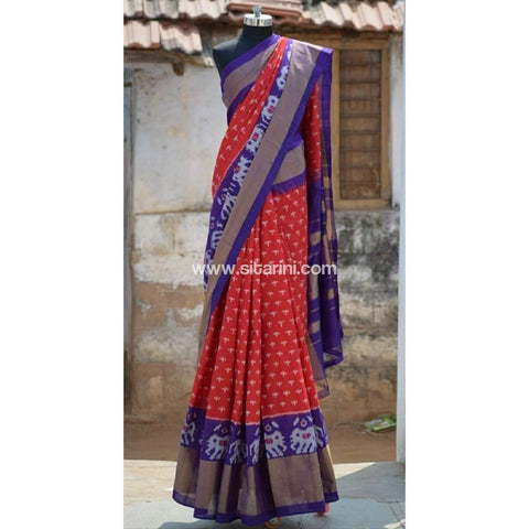 Pochampally Ikkat Pattu Saree-Red and Royal Blue-Sitarini-PRHIPS101