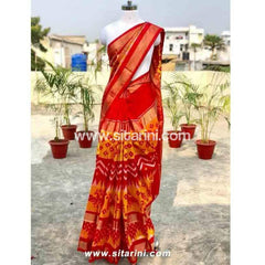 Pochampally Ikkat Pattu Saree-Red and Yellow-Sitarini