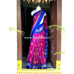 Pochampally Ikkat Pattu Saree-Royal Blue and Magenta-Sitarini-PSHIPS177