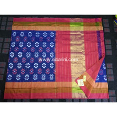 Pochampally Ikkat Pattu Saree-Royal Blue and Pink-Sitarini-PRHIPS110