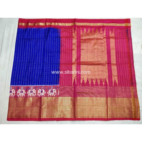 Pochampally Ikkat Pattu Saree-Royal Blue and Pink-Sitarini-PSHIPS124