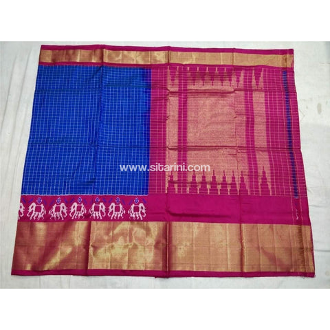 Pochampally Ikkat Pattu Saree-Royal Blue and Pink-Sitarini-PSHIPS127